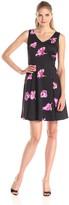 Julian Taylor Women's Sleeveless Flower Printed V-Neck Dress