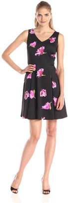 Julian Taylor Women's Sleeveless Flower Printed V-Neck Dress