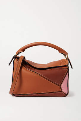 Loewe Puzzle Mini Color-block Textured-leather Shoulder Bag - Tan