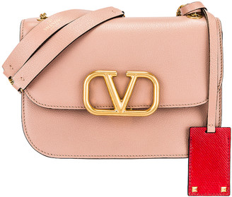 Valentino Small VLock Chain Shoulder Bag in Rose Cannelle & Red | FWRD