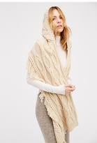 Womens CABLE FRINGE HOODED SCARF