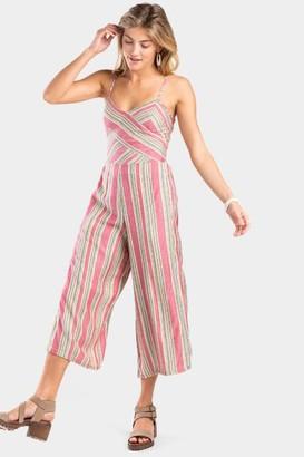 francesca's Vivianne Stripe Cropped Jumpsuit - Pink