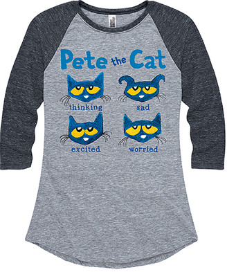 Instant Message Women's Women's Tee Shirts ATH - Athletic Heather & Heather Black 'Pete the Cat' Faces Raglan Tee - Women