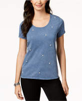Style&Co. Style & Co Short-Sleeve Faux-Pearl-Embellished T-Shirt, Created for Macy's