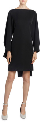 Nina Ricci Twisted-Back Wool Crepe Mini Dress
