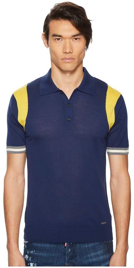 DSQUARED2 Color Block Sweater Polo Men's Sweater