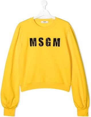 Msgm Kids TEEN sequinned logo sweatshirt