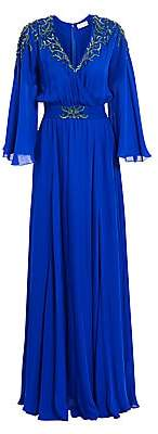 Ahluwalia Women's Embroidered Flutter-Sleeve Silk Gown