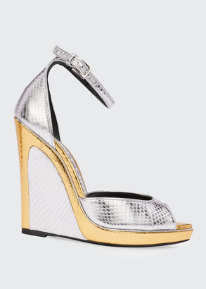 Tom Ford Trompe L'oeil Wedge Snakeskin Sandals