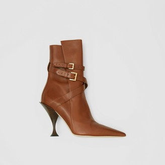 Burberry Strap Detail Leather Ankle Boots