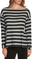 Vince Camuto Fuzzy Stripe Boatneck Sweater