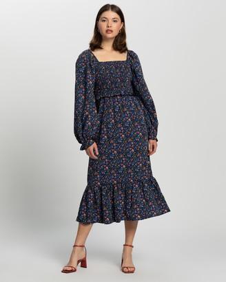 Missguided Frill Hem Shirred Milkmaid Midi Dress