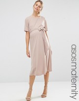 Asos Midi Dress With Tie Front
