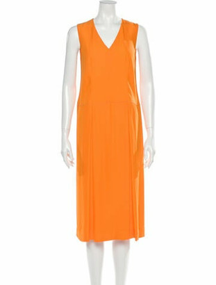 Hermes V-Neck Midi Length Dress Orange
