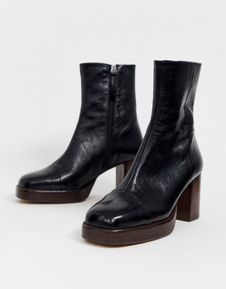 Asos Design DESIGN Reunion premium leather platform boots in black