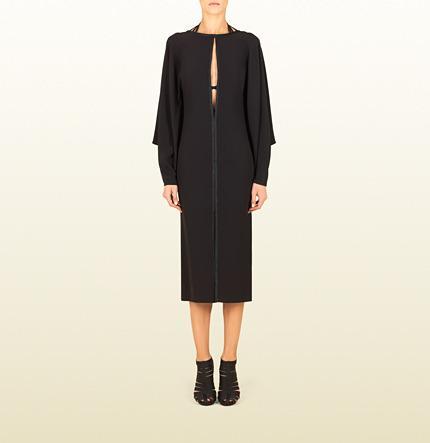 Gucci Black Silk Cape Dress