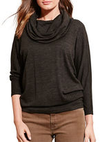 Lauren Ralph Lauren Cowlneck Three-Quarter Sleeve Jersey Top