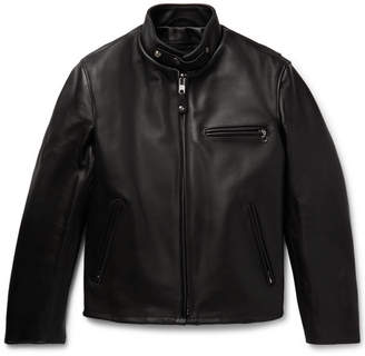 Schott Faux Fur-Lined Leather Cafe Racer Jacket