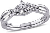 JCPenney FINE JEWELRY 1/5 CT. T.W. Diamond Bridal Ring Set Sterling Silver