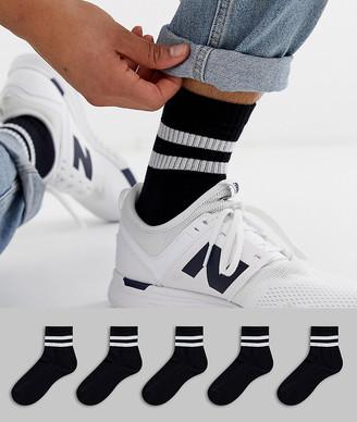 Asos Design DESIGN 5 pack short sport socks in black with stripes save