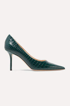Jimmy Choo Love 85 Croc-effect Leather Pumps - Dark green
