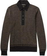 Tom Ford - Jacquard-knit Cotton, Silk And Cashmere-blend Polo Shirt