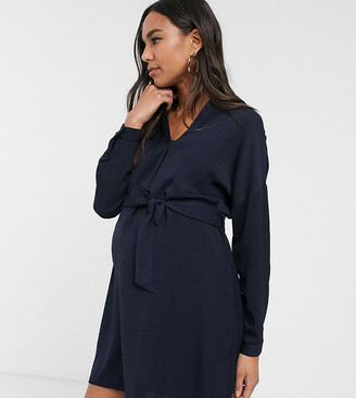 New Look Maternity belted tunic in blue