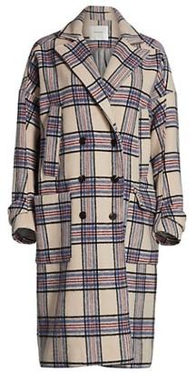 MUNTHE Lin Plaid Wool-Blend Trench Coat