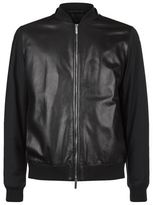 BOSS Nylon Sleeves Leather Bomber Jacket