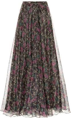 Plan C Printed organza maxi skirt