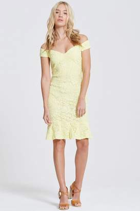 Paper Dolls Outlet Lemon Peplum Hem Bardot Dress