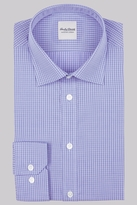 Hardy Amies Slim Fit Blue Single Cuff Check Shirt