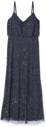 Adrianna Papell Women's Petite Art Deco Blouson Beaded Gown