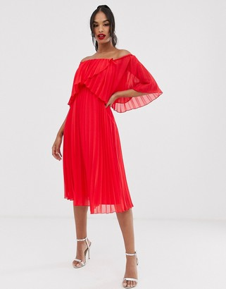 Asos DESIGN pleated bandeau midi dress with double layer