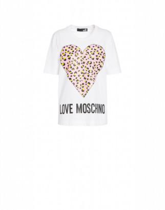 Love Moschino T-shirt Leopard Heart Woman White Size 38 It - (4 Us)