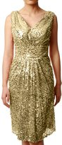 MACloth Women V Neck Sequin Short Bridesmaid Dress Wedding Party Cocktail Gown