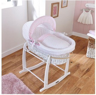 Clair De Lune Stars & Stripes Wicker Moses Basket - White Wicker