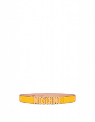 Moschino Crocodile Print Calfskin Belt Woman Yellow Size 38 It - (4 Us)