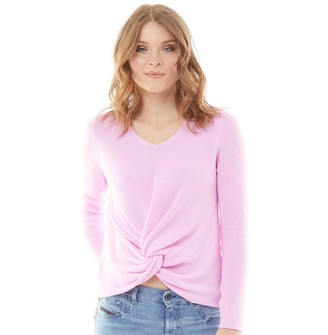 Onfire Womens Knotted Front Jumper Peach