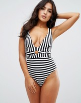 Asos FULLER BUST Exclusive Mono Stripe Deep Plunge Swimsuit DD-G