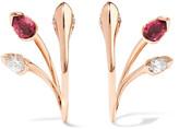 Fernando Jorge - Sepals Hoops 18-karat Rose Gold, Tourmaline And Diamond Earrings - one size