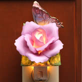 CosmosGifts Butterfly with Lavender Rose Night Light