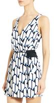 Diane von Furstenberg Oblixe Silk Jersey Wrap Dress In Hounds Check Medium Blue
