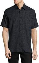 Neiman Marcus Short-Sleeve Dash-Print Sport Shirt, Black
