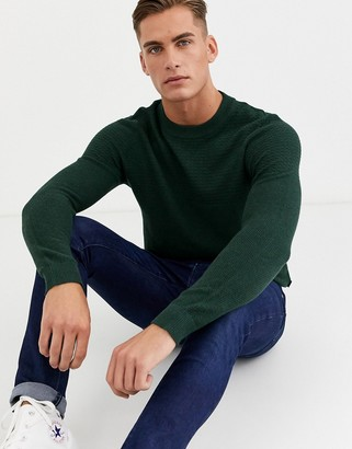 Jack and Jones textured crew neck knitted sweater in green