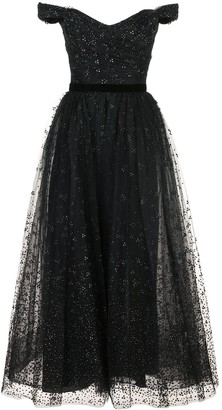 Marchesa Notte Draped Corseted Sequin-Embellished Gown