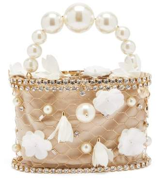 Rosantica Holli Fresia Crystal-embellished Bag - Womens - White Multi