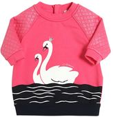 Armani Junior Swans Print Cotton Sweatshirt Dress