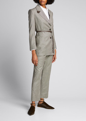 Agnona Tiny Check Wool Jacket with Leather Belt