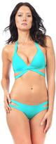 Voda Swim Turquoise Envy Push Up Wrap Top